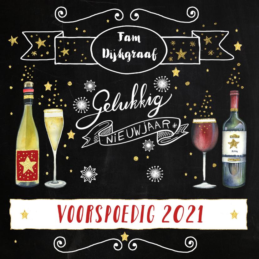 Nieuwjaarskaarten - Nieuwjaarskaart wijn handlettering
