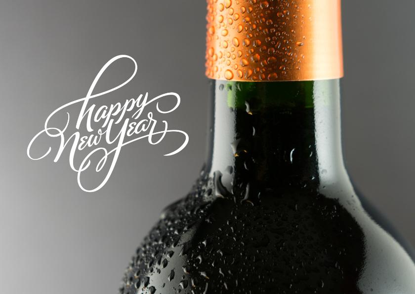 Nieuwjaarskaarten - Nieuwjaarskaart wijnfles relatie