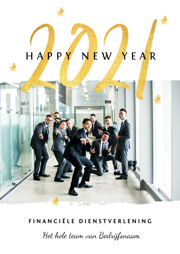 Nieuwjaarskaarten - Nieuwjaarskaart zakelijk 2020 goud foto sterretjes