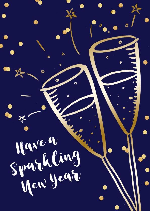 Nieuwjaarskaarten - Nieuwjaarskaart zakelijk champagne goudlook confetti