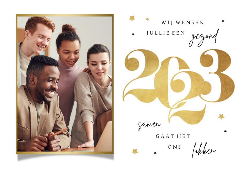Nieuwjaarskaarten - Nieuwjaarskaart zakelijk goud stijlvol sterren foto