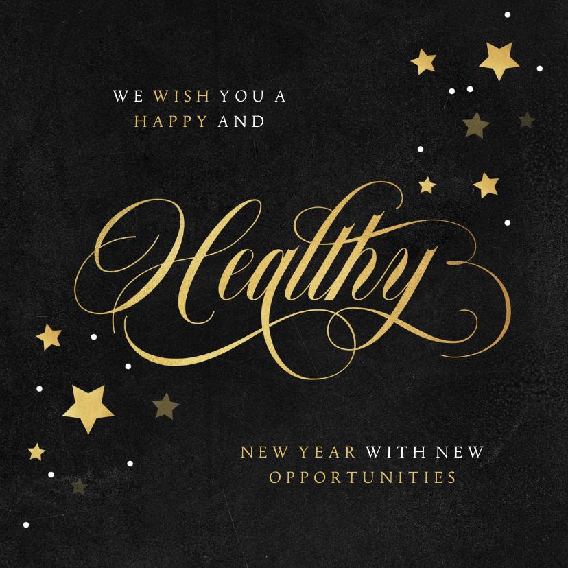 Nieuwjaarskaarten - Nieuwjaarskaart zakelijk healthy gezond sterren goud