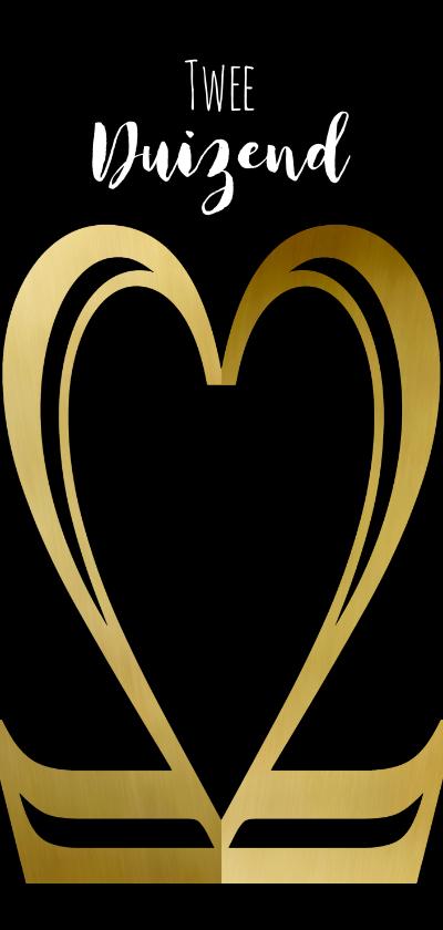 Nieuwjaarskaarten - Nieuwjaarskaart zwart 22 goud