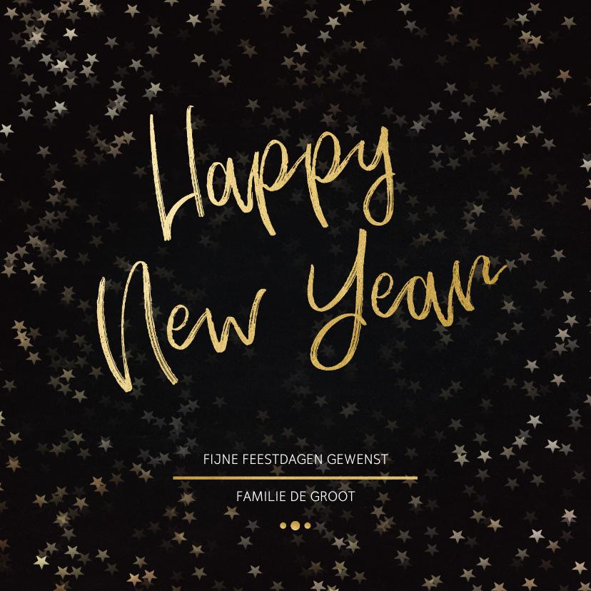 Nieuwjaarskaarten - Nieuwjaarskaart zwart en goud