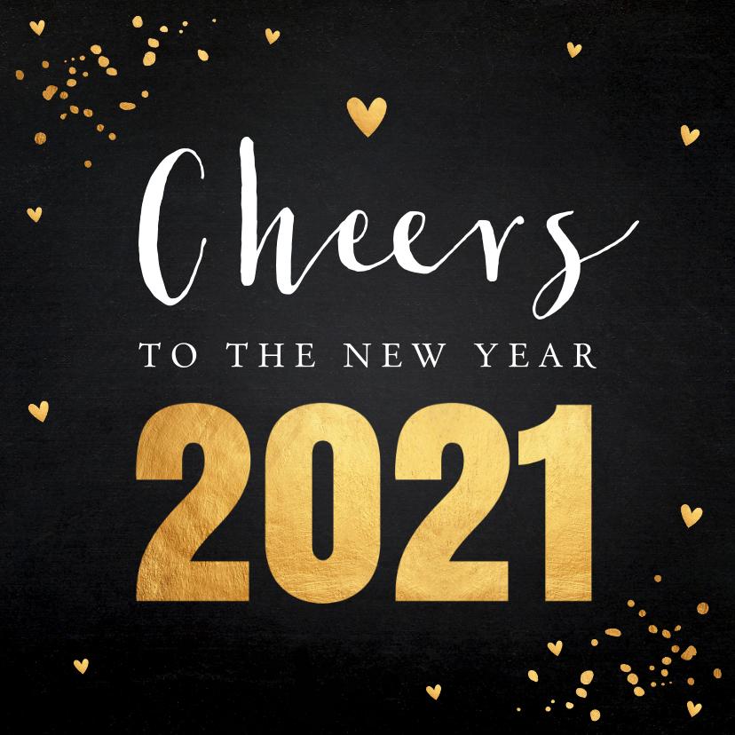Nieuwjaarskaarten - Nieuwjaarskaart zwart goudlook confetti typografie