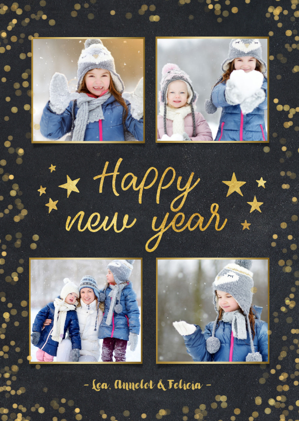 Nieuwjaarskaarten - Nieuwjaarskaart zwart met goudlook confetti en sterren