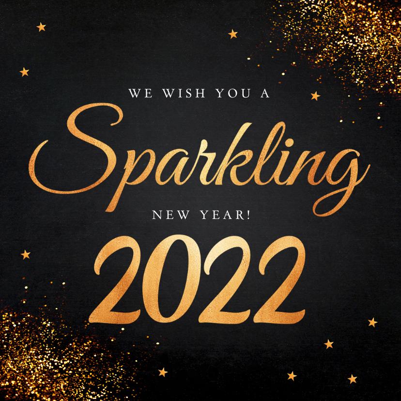 Nieuwjaarskaarten - Nieuwjaarskaart zwart typografie goudlook glitter