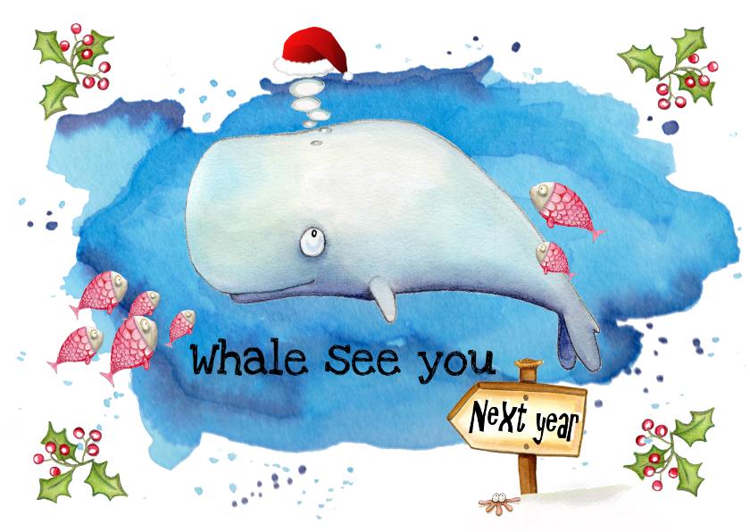 Nieuwjaarskaarten - Nieuwjaarskaarten walvis met kerstmuts