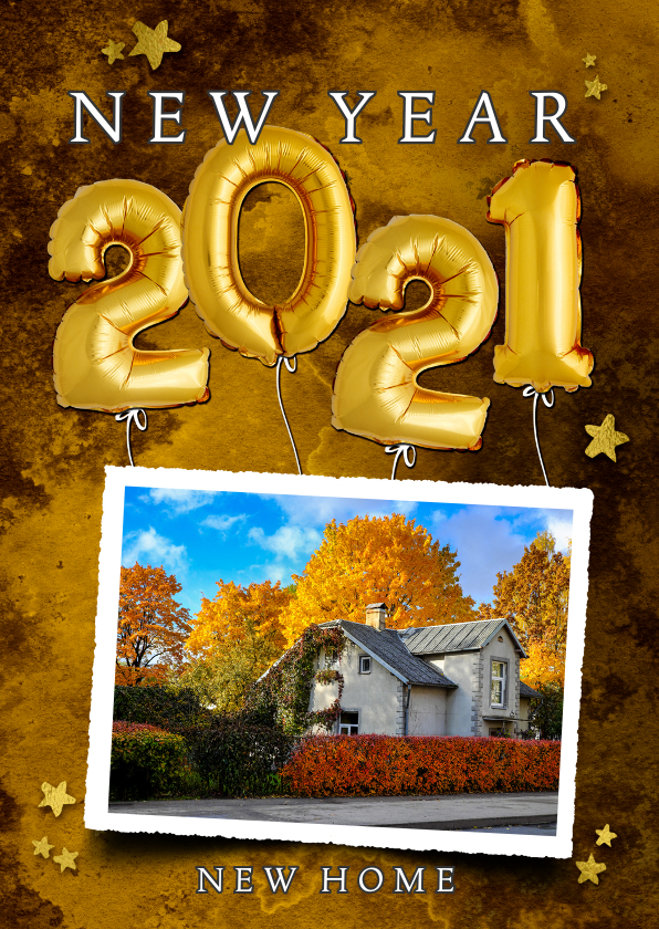 Nieuwjaarskaarten - Nieuwjaarverhuiskaart 2021 ballon goud op watercolor print
