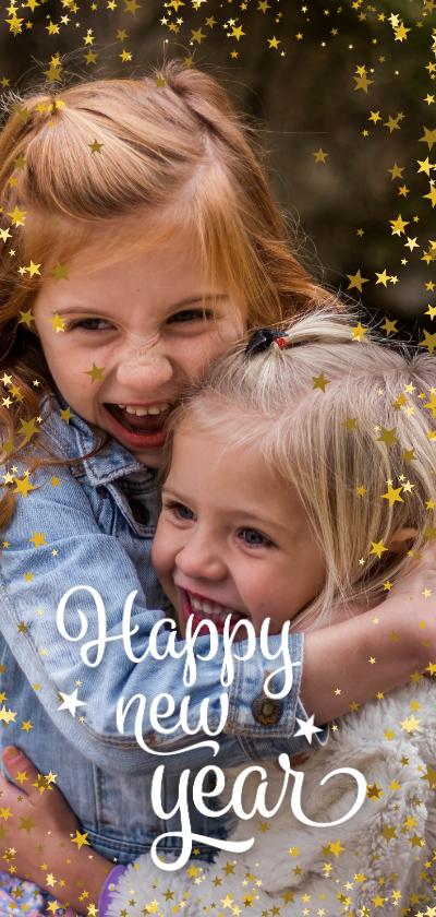 Nieuwjaarskaarten - Nieuwsjaarskaart modern foto met sterren langwerpig