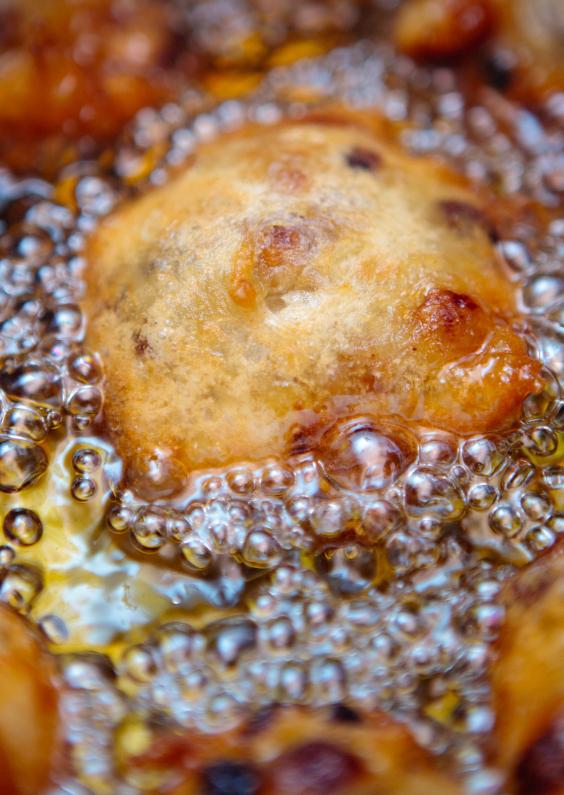 Nieuwjaarskaarten - Oliebollen in het vet