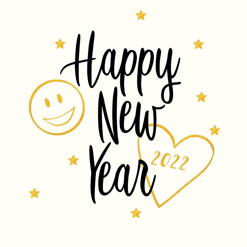 Nieuwjaarskaarten - Smiley Happy New Year met jaartal  goudlook
