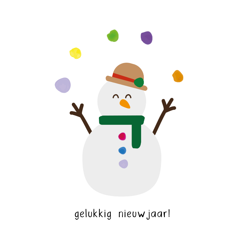 Nieuwjaarskaarten - Sneeuwpop nieuwjaar - christmas cuties - nieuwjaarskaart