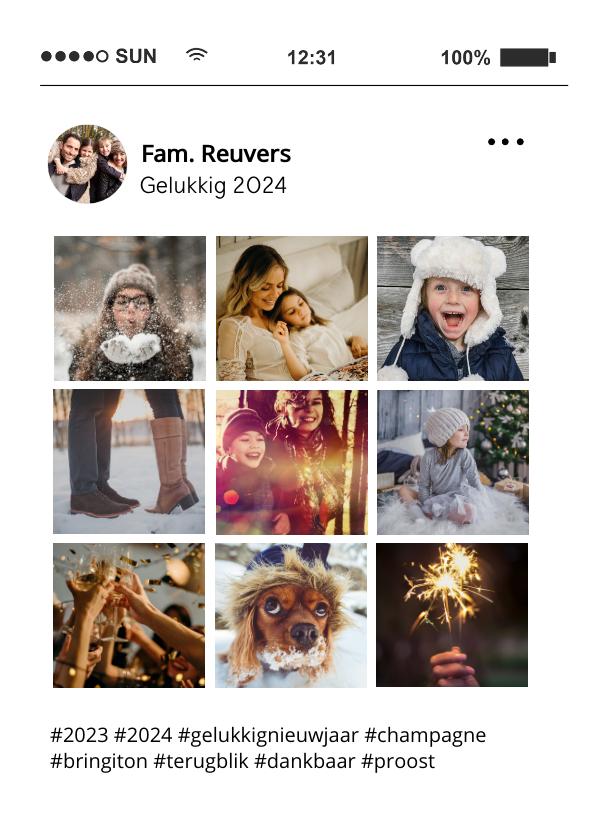 Nieuwjaarskaarten - Social media nieuwjaarskaart tijdlijn kaart met 9 foto's