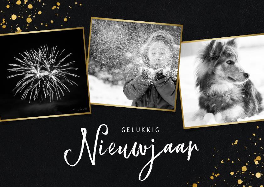 Nieuwjaarskaarten - Stijlvolle fotocollage nieuwjaarskaart met zwart/wit foto's