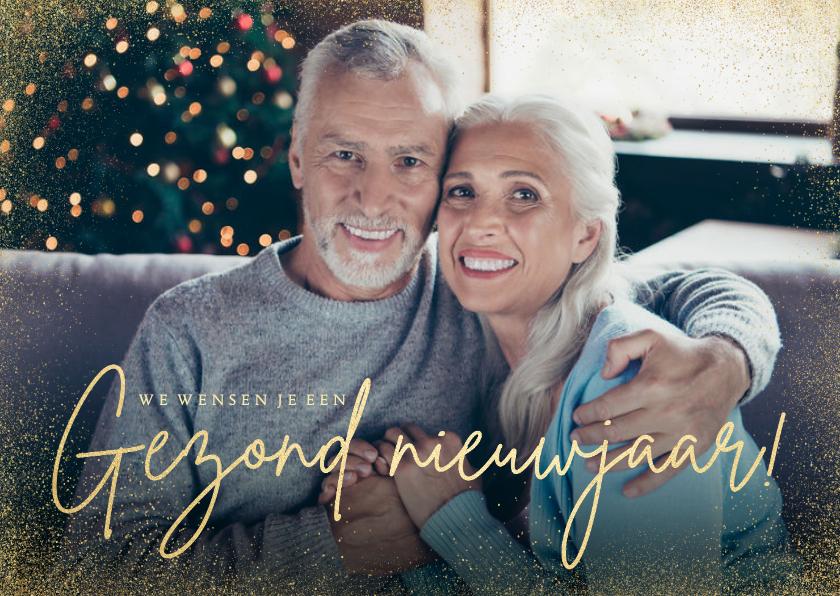 Nieuwjaarskaarten - Stijlvolle grote foto nieuwjaarskaart gezond nieuwjaar goud