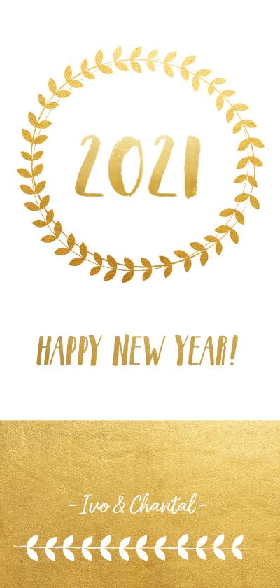 Nieuwjaarskaarten - Stijlvolle langwerpige nieuwjaarskaart met krans en goudlook