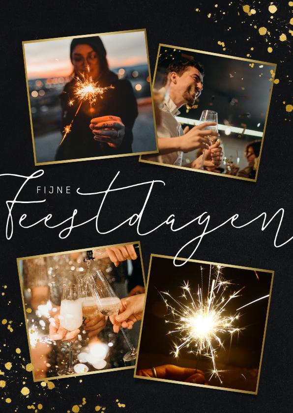 Nieuwjaarskaarten - Stijlvolle nieuwjaarskaart 4 foto's en goudlook