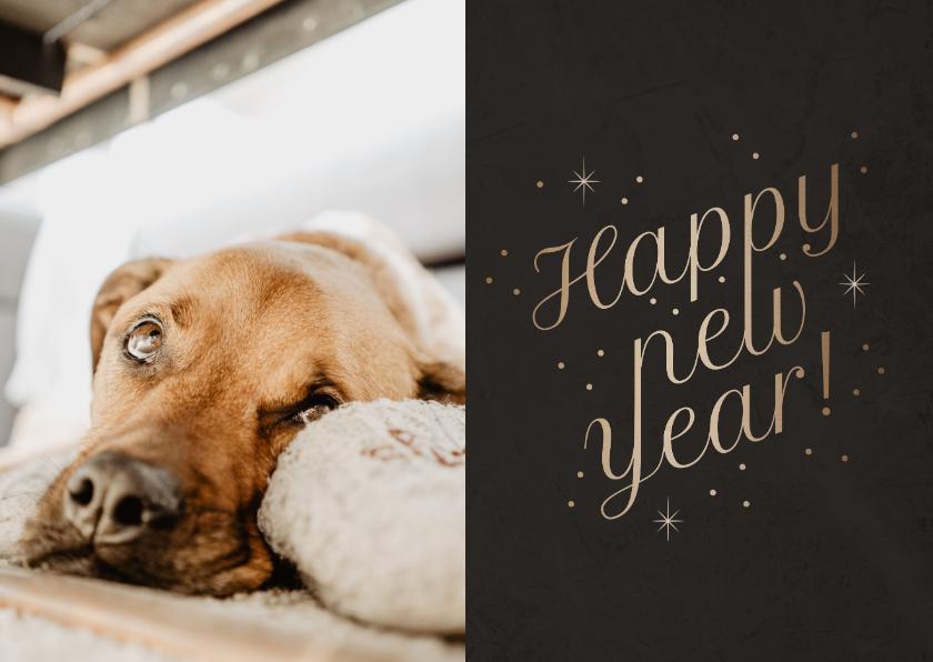 Nieuwjaarskaarten - Stijlvolle nieuwjaarskaart foto 'Happy New Year' fonkels