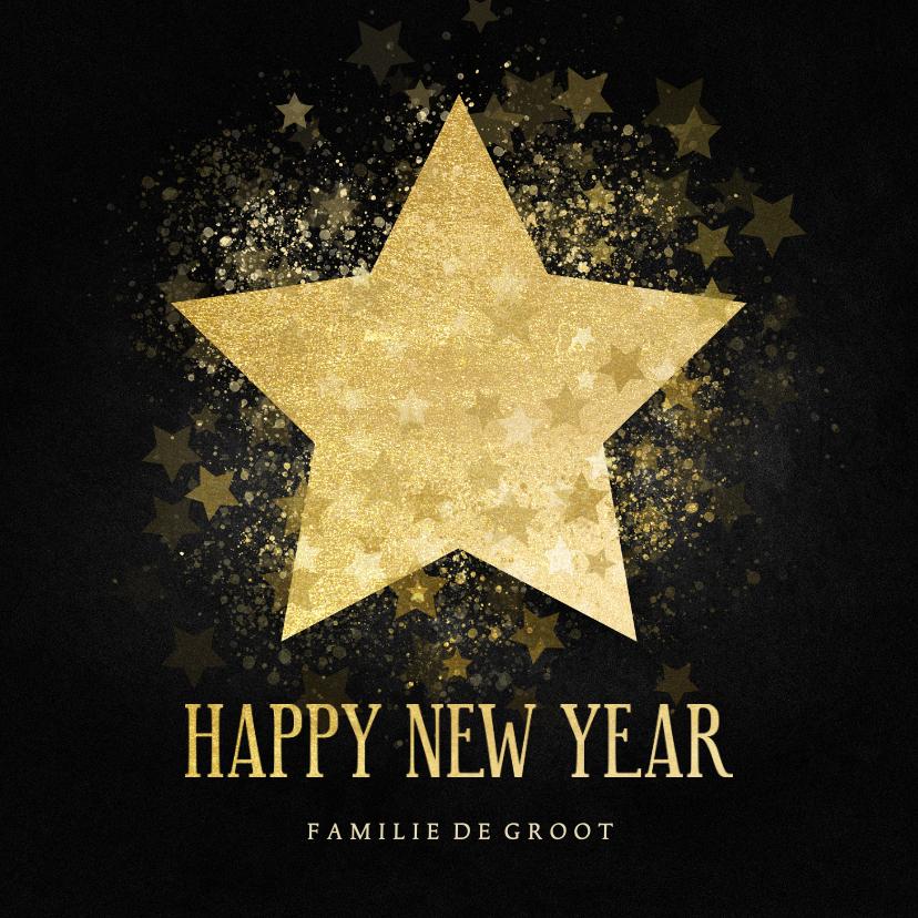 Nieuwjaarskaarten - Stijlvolle nieuwjaarskaart gouden ster Happy new Year
