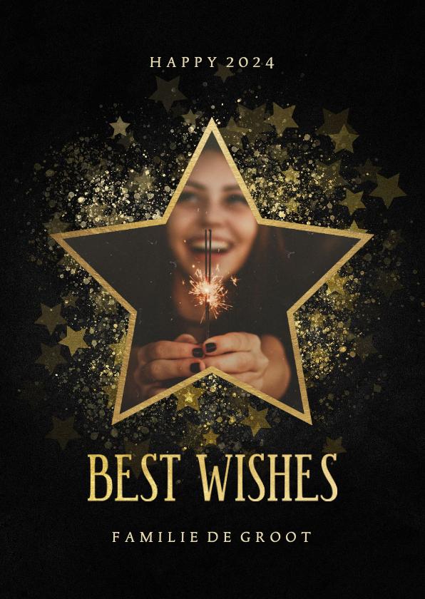 Nieuwjaarskaarten - Stijlvolle nieuwjaarskaart gouden ster met foto
