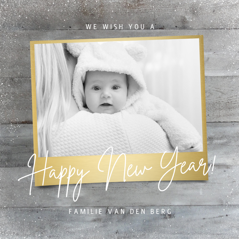 Nieuwjaarskaarten - Stijlvolle nieuwjaarskaart houtlook goud foto happy new year