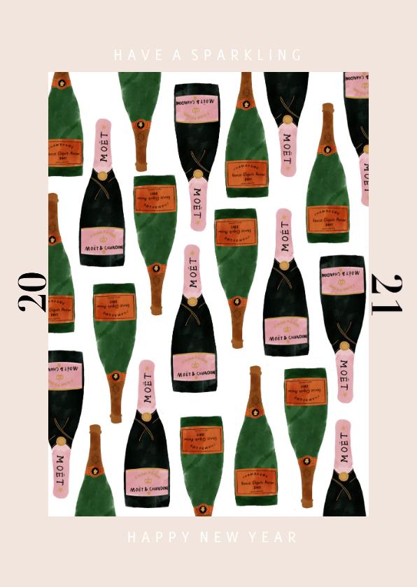 Nieuwjaarskaarten - Stijlvolle nieuwjaarskaart met champagne en 2020