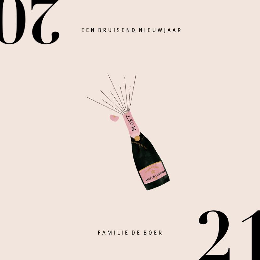 Nieuwjaarskaarten - Stijlvolle nieuwjaarskaart met champagnefles en 2020