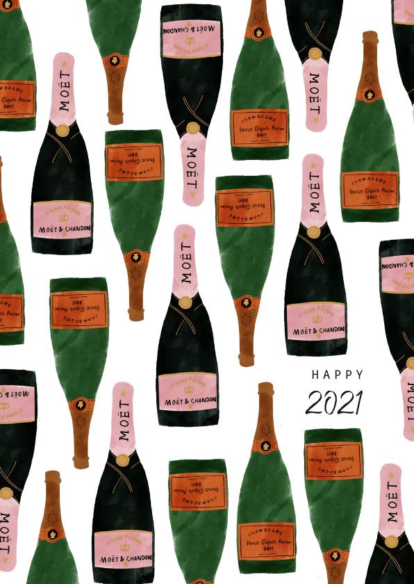 Nieuwjaarskaarten - Stijlvolle nieuwjaarskaart met champagneflessen en 2020