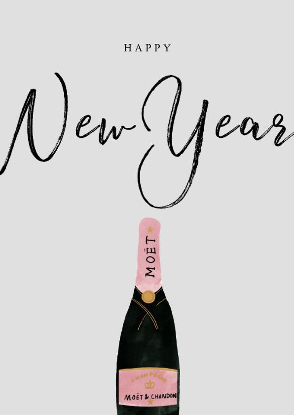 Nieuwjaarskaarten - Stijlvolle nieuwjaarskaart met champagneflessen en New Year