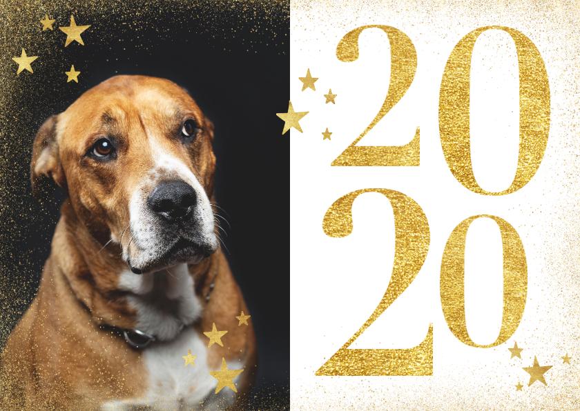 Nieuwjaarskaarten - Stijlvolle nieuwjaarskaart met gouden 2020, sterren en foto