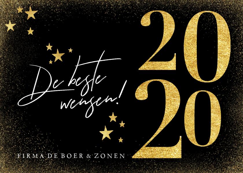 Nieuwjaarskaarten - Stijlvolle nieuwjaarskaart met gouden 2020 sterren
