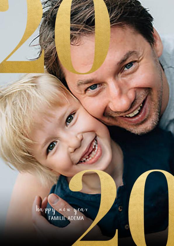 Nieuwjaarskaarten - Stijlvolle nieuwjaarskaart met grote foto en 2020