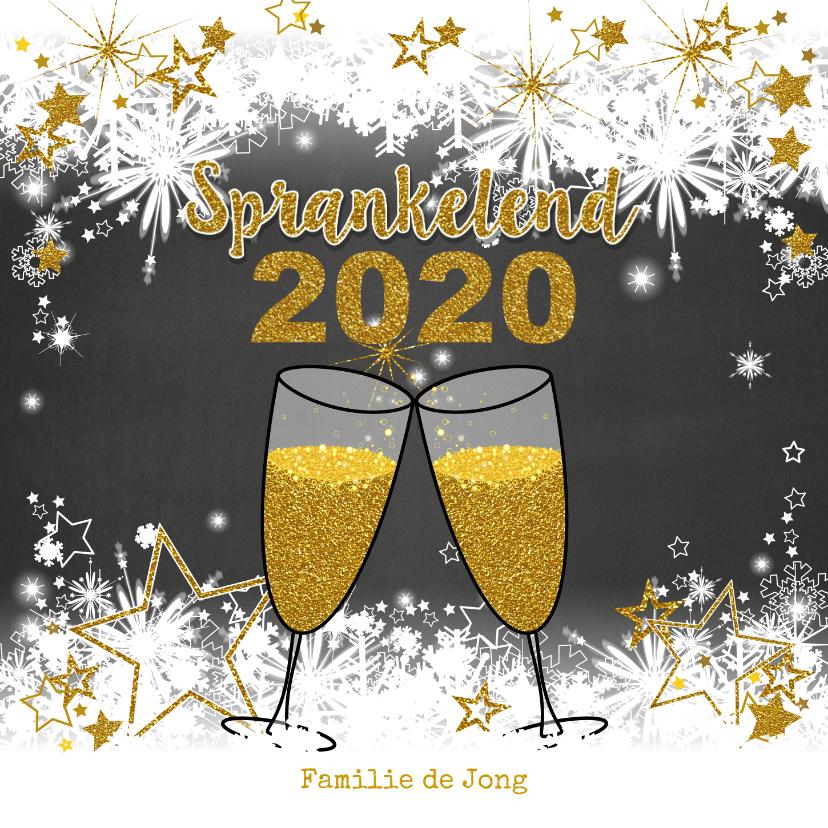 Nieuwjaarskaarten - Stijlvolle nieuwjaarskaart sneeuw en sterren  champagne 2019