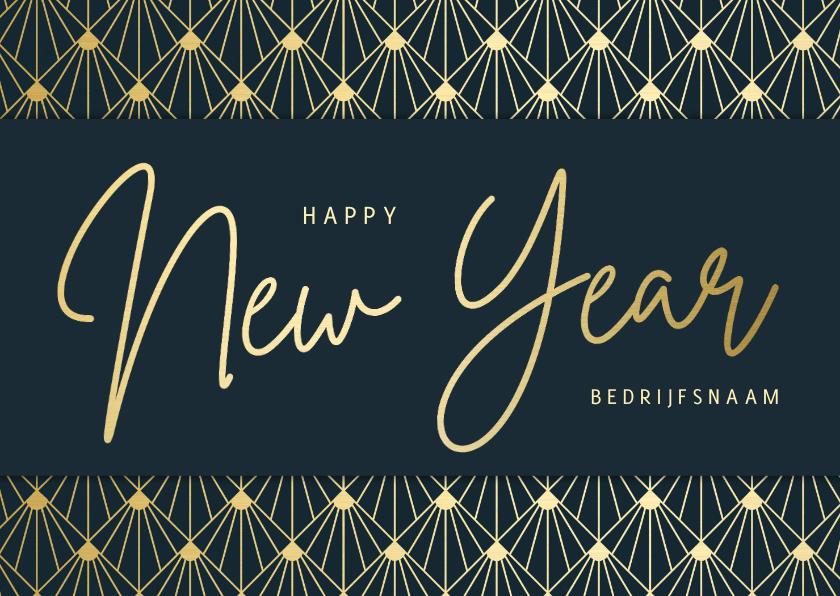 Nieuwjaarskaarten - Stijlvolle zakelijke nieuwjaarskaart - Art deco stijl goud