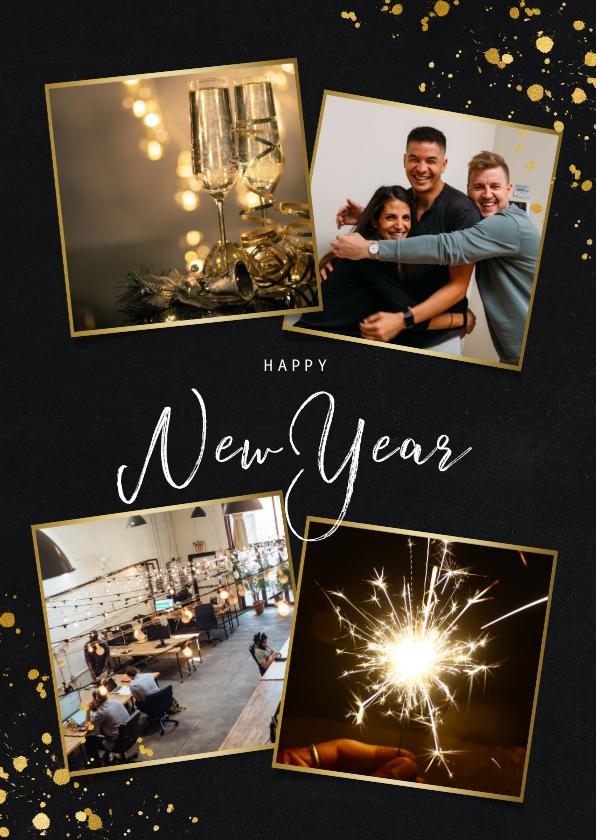 Nieuwjaarskaarten - Stijlvolle zakelijke nieuwjaarskaart met fotocollage