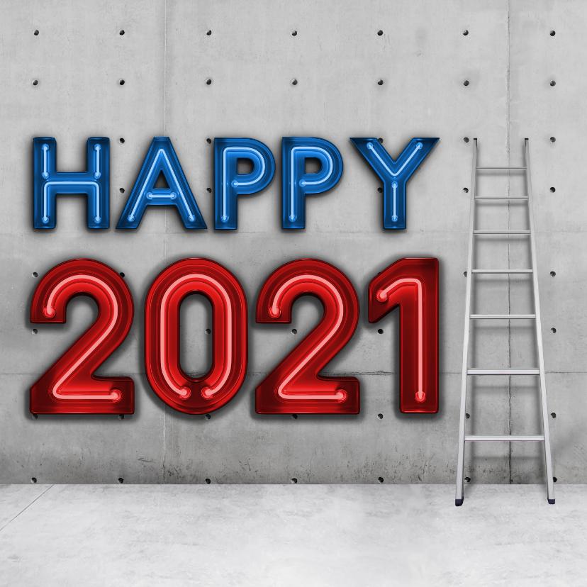 Nieuwjaarskaarten - Stoere vierkante nieuwjaarskaart 2021 met neon
