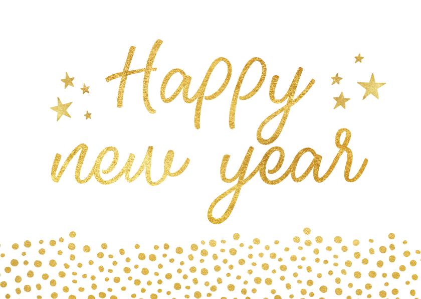 Nieuwjaarskaarten - Trendy nieuwjaarskaart met gouden stippen en happy new year