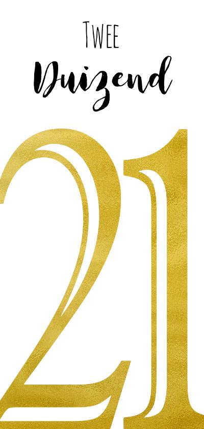 Nieuwjaarskaarten - Twee duizend 21 goudkleurig