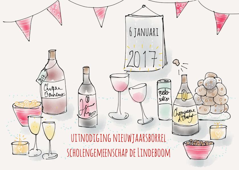 Nieuwjaarskaarten - Uitnodiging Borrel 2017