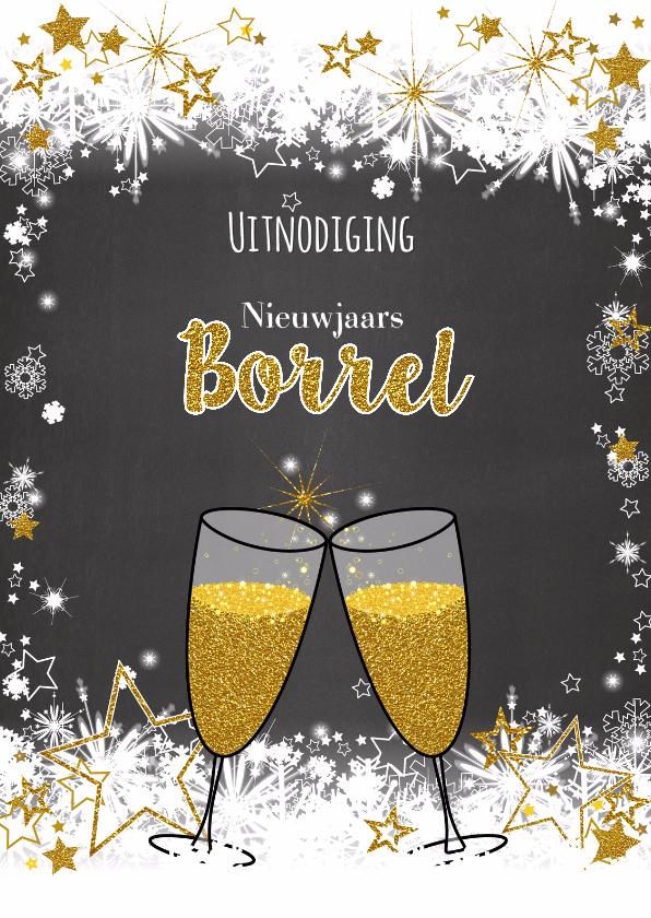 Nieuwjaarskaarten - Uitnodiging borrel stoer lief en goud