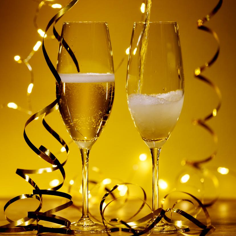 Nieuwjaarskaarten - Uitnodiging Champagne Nieuwjaarsborrel