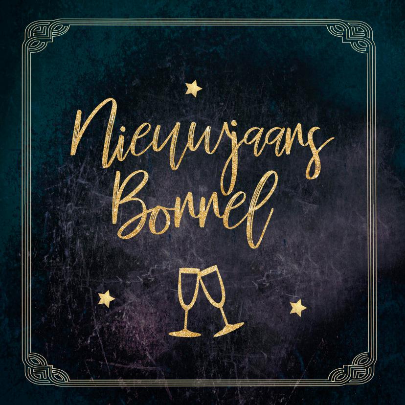 Nieuwjaarskaarten - Uitnodiging great gatsby stijl nieuwjaarsborrel