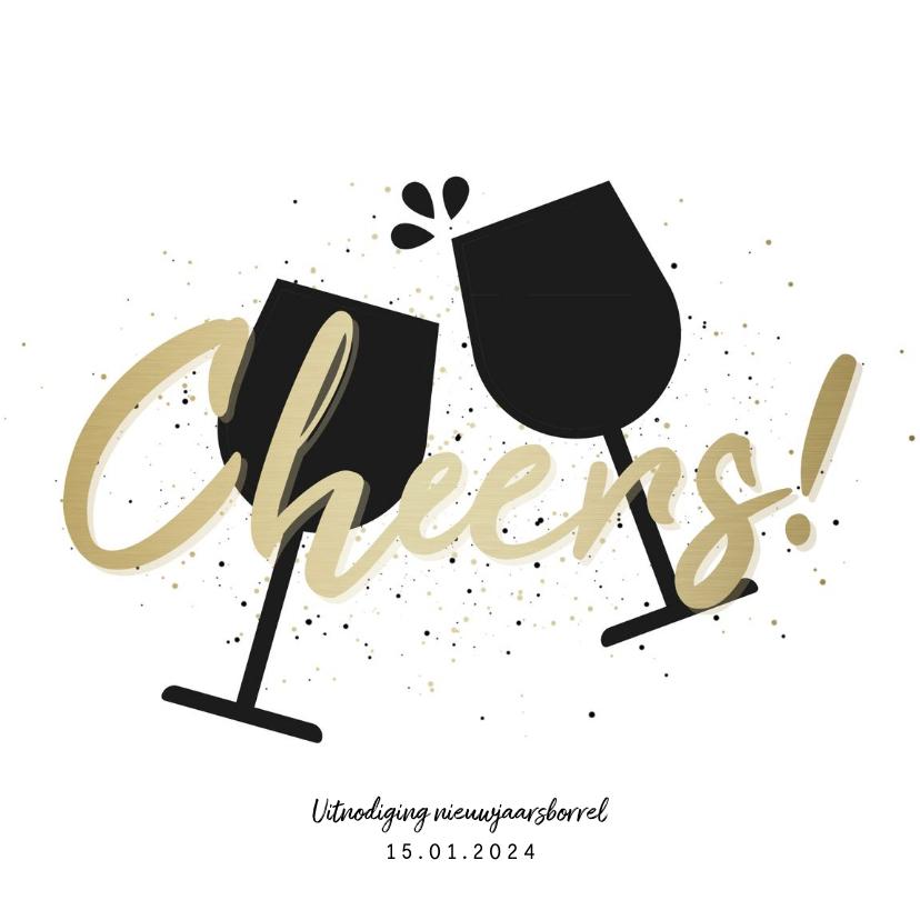 Nieuwjaarskaarten - Uitnodiging nieuwjaarsborrel cheers met proostende glazen
