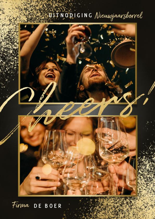 Nieuwjaarskaarten - Uitnodiging nieuwjaarsborrel gouden spetters cheers & foto's