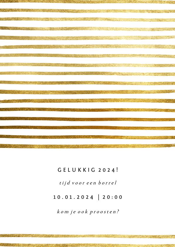 Nieuwjaarskaarten - Uitnodiging nieuwjaarsborrel strepen goud