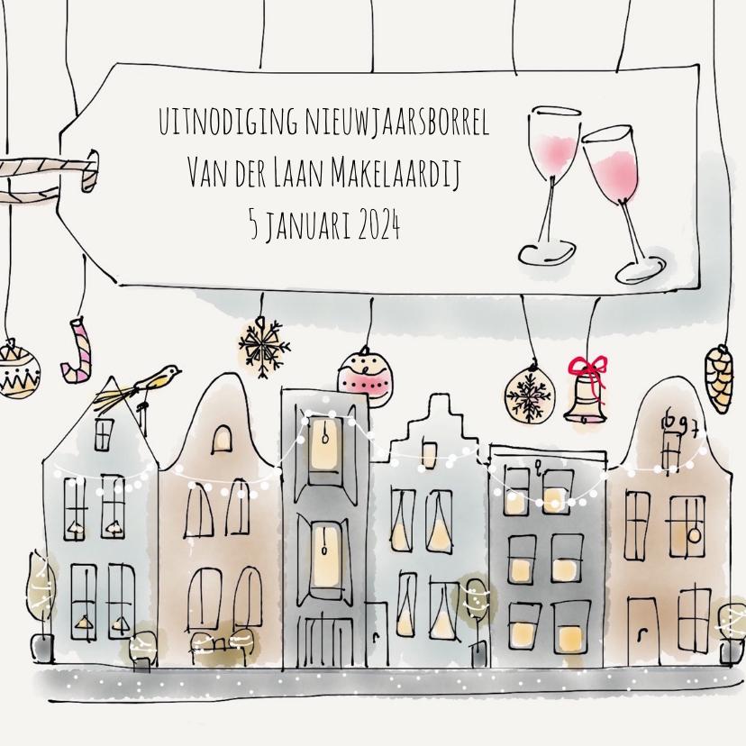 Nieuwjaarskaarten - Uitnodiging Nieuwjaarsborrel