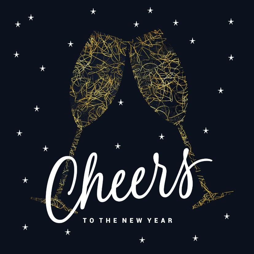 Nieuwjaarskaarten - Vrolijke nieuwjaarskaart cheers donker blauw