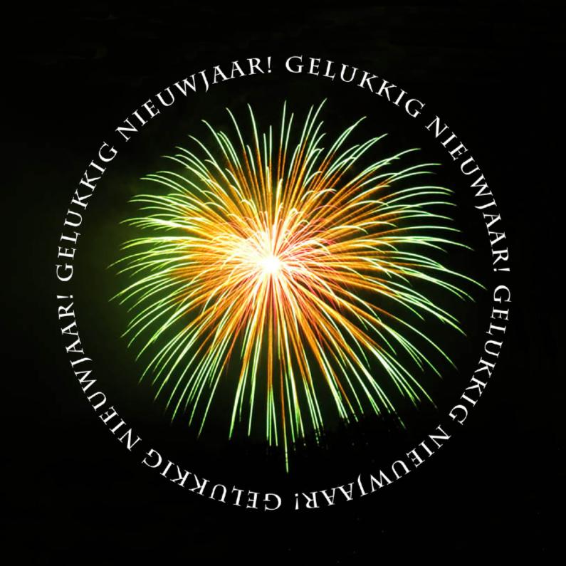 Nieuwjaarskaarten - Vuurwerk zwart