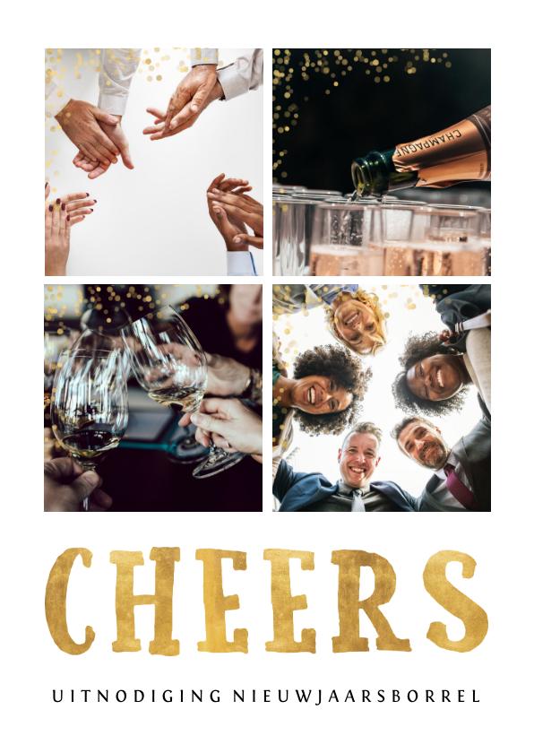 Nieuwjaarskaarten - Zakelijke fotocollage nieuwjaarsborrel uitnodiging goudlook
